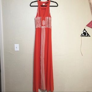 THML bright coral Embroidered Cut Out Maxi Dress L